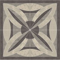 119.6*119.6 MISTRAL GRYS ROZETA, dekoruota akmens masės plytelė