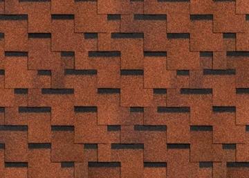 Bitumen roof shingles AKORDAS PRAGA, brown. Bitumen roof shingles (tiles)
