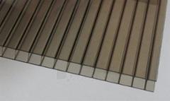 Polycarbonate plate 10x1050x6000 mm (12,6 m²) bronze Pvc and polycarbonate sheets