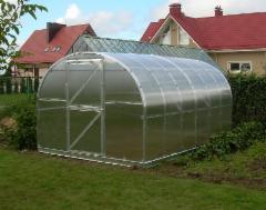 Arched šiltnamis KLASIKA 24 m2 (3x8 m) su 4 mm. polikarbonato danga Greenhouses