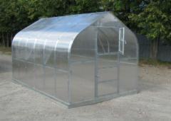 Šiltnamis Standart KLASIKA 25m2 (5 stoglangiai) 2,5x10 su 4 mm.polikarbonato danga