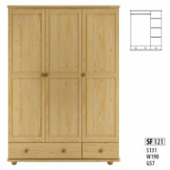 Spinta SF121 (135x190x55 cm) Wooden bedroom closets