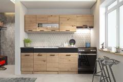 Virtuvės komplektas Alina 240 cm ąžuolas artisan/juoda Virtuvės baldų komplektai