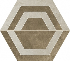 26*29.8 SCRATCH BEIGE HEKSAGON C MAT, akmens masės dekoruota plytelė
