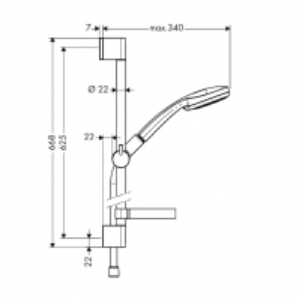 27769000 CROMA 100 MULTI/UNICA'C, dušo komplektas, 65 cm Shower faucets