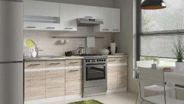 Virtuvės komplektas Junona 240 Balta blizgi/Ąžuolas Sanremo Virtuves mēbeļu komplekti