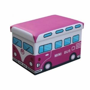 Dėžė žaislams-pufas Kiri rožinis autobusas Baldai sandėlyje.