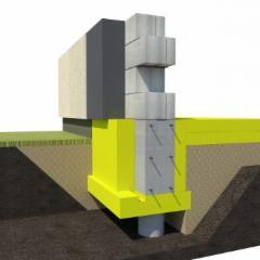 Pamatų klojinio išorinė plokštė (A) US300/100 100x600xx2500mm (1,5m2) Ekstruzinis polistirolas (XPS)