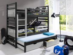 Vaikiška trivietė lova HIPOLIT wenge/pilka Vaikiškos lovos