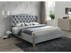 Miegamojo lova Aspen 160 aksomas pilka Miegamojo lovos