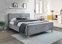 Miegamojo lova Malmo 160 aksomas pilka Miegamojo lovos