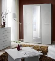 Miegamojo spinta BIG balta blizgi Guļamistabas skapji