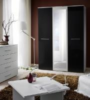 Miegamojo spinta BIG balta/juoda Guļamistabas skapji