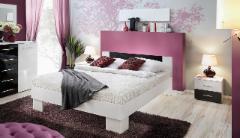 Miegamojo lova Vicky 140 balta/juoda Bedroom beds