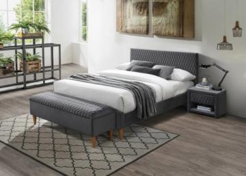 Miegamojo lova Azurro 160 aksomas pilka Miegamojo lovos