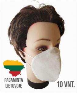Vienkartinės, apsaugines veido kaukės (3 sluoksnių), 10 vnt Veido, galvos apsaugos bei dezinfekcinės priemonės