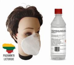 Dezinfekanto ir apsauginių kaukių rinkinys (8 buteliukai + 20 kaukių ) Namų apyvokos valikliai, plovikliai, apsauginės kaukės