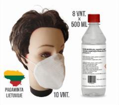 Dezinfekcinio skysčio rankoms ir apsauginių kaukių rinkinys (8 buteliukai + 10 kaukių )
