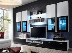 Sekcija Lyra balta/TV staliukas juoda blizgi Sekcijos