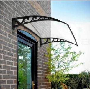 Stogelis virš durų BaBa 100x150cm aliuminis juodas rėmas, skaidri danga Durų stogeliai