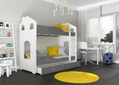 Vaikiška Dviaukštė Lova Dominik Domek 1608 pilka/balta Vaikiškos lovos