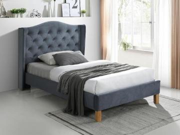 Miegamojo lova Aspen 120 aksomas pilka Miegamojo lovos