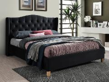 Miegamojo lova Aspen 160 aksomas juoda Miegamojo lovos