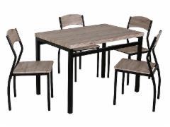 Valgomojo Stalas su kėdėm Astro ąžuolas/juoda Virtuvės stalai
