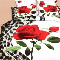 3D patalynės komplektas ''Tigrinė Rožė'', 6 dalių, 200x220 cm