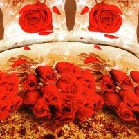 3D patalynės komplektas Raudona Rožė, 4 dalių, 200x220 cm