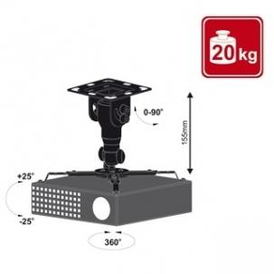 4World Projektoriaus laikiklis luboms pasukiamas/palenkiamas, 15,5 cm, BLK
