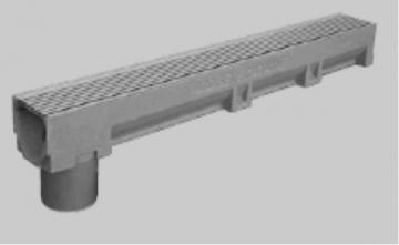 ACO polimerbetoninis latako elementas su nerūdijančio plieno grotelėmis ir įmontuotu PVC vamzdžiu 110 mm Virszemes ūdeņu savākšanas