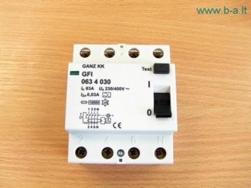 Automatinis išjung. su nuotėkio rėle 4P/63A/30mA Srovės nuotėkio relės