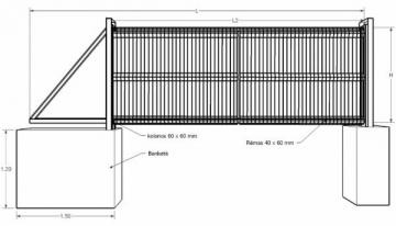 Galvanized, motorised sliding gates 1200x4000 with PVC