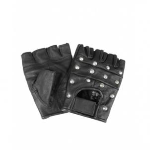 Juodos odinės pirštinės su metaliniais akcentais Tactical gloves