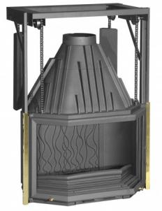 Ketinis židininio ugniakuras Invicta 850 | su prizminiu kontrsvoriais pekeliamu svoriu DO Židiniai, pirties krosnelės