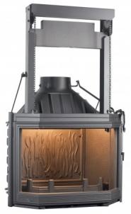 Ketinis židinio ugniakuras Seguin Hexa 7 | su prizminiu pakeliamu stiklu Židiniai, pirties krosnelės
