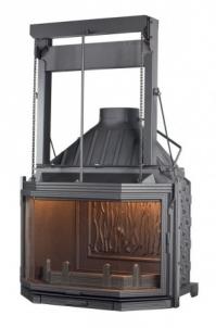 Ketinis židinio ugniakuras Seguin Hexa 8 | su pakeliamu stiklu Židiniai, pirties krosnelės