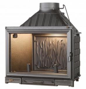 Ketinis židinio ugniakuras Seguin Kiteflam su tiesiu stiklu 11-17.6 kW Kamīns, pirts krāsnis