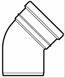 Lauko kanalizacijos alkūnė Wavin, d 250, 30* Išorės nuotekų alkūnės