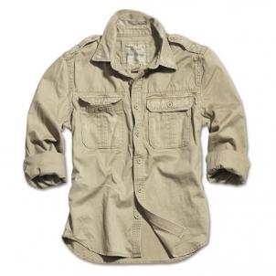 Marškiniai su antpečiais Surplus RAW Vintage khaki Taktiniai, medžiokliniai marškiniai, liemenės