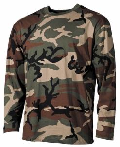 Palaidinė vyriška ilgarankovė taktinė Woodland kamufliažas Kariški džemperi un džemperi