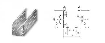Profilis CW-50/50 4,00 m (0,5 mm) Ģipša padome nosaka elementus