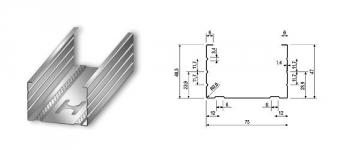 Profilis CW-75/50 3,00 m (0,5 mm) Profili (likdama, likdama, ģipša board)