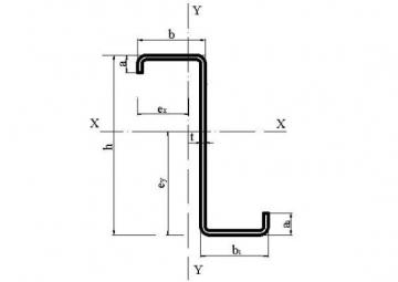 Profilis 'Z' 22x70x250x60x22x2.5 Profiles z, galvanized