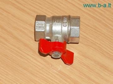 Rutulinis ventilis vidus/vidus trumpa rankena 1' Rutliniai ventiliai žalvariniai