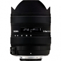 Sigma AF 8-16mm F4.5-5.6 DC HSM for Nikon, 15 Elements in 11 Groups, Angle of View: 114.5-75.4 degrees Objektyvai