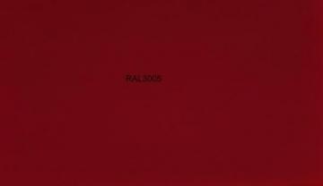Spalvota skarda (poliesteris matinis) RAL3005 tamsiai raudona Spalvota skarda (lygi)