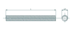 Srieginis strypas DIN 975 M 18 x 2000 4,8 kl., Zn Threaded rods din 975, galvanized
