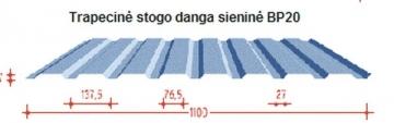 Trapecinio profilio skarda BP20 sienoms dengta poliesteriu Profils trapecinio skārda loksnes